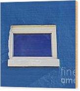 Window On Blue Wood Print