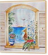Window On Santorini Wood Print