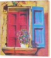 Window On The Rue In Roussillon France Wood Print
