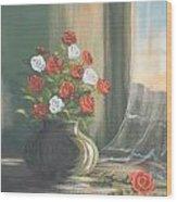 Window Roses Wood Print