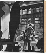 Window Shopping Cowboy Wood Print