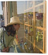 Window Shopping In Downtown Yarmouth Wood Print