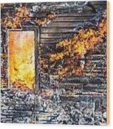 Window Thru The Depth Of Firey Fury Wood Print