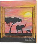 Window To African Sunrise With Elephants Into The Sun. Wood Print