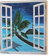 Window To Paradise Beach Wood Print