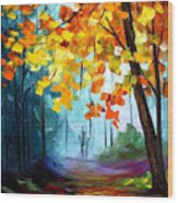 Window To The Fall - Palette Knife Oil Painting On Canvas By Leonid Afremov Wood Print