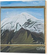 Window To The Popocatepetl A Mexican Volcano. Wood Print