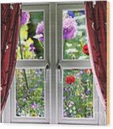 Window View Onto Wild Summer Garden Wood Print