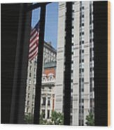 Window View With Flag Wood Print
