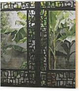 Window With Bamboo And Banana Plant Wood Print