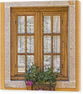 Window With Flowers Wood Print