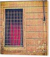 Window With Grate And Red Curtain Wood Print by Silvia Ganora