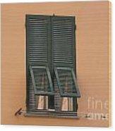 Window With Shutter Wood Print