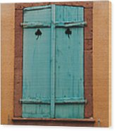 Window With Turqouise Shutters In Colmar France Wood Print