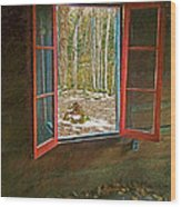 Window With View Abandoned Elkmont Log Cabin Autumn Wood Print