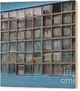 Windows In Blue Building 3 Wood Print