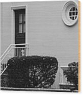Windows In The Round In Black And White Wood Print