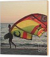 Windsurfer At Sunset Wood Print