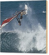 Windsurfer Hanging In Wood Print