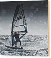 Windsurfing With Water Drops On Camera Wood Print