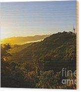 Windturbines At Sunrise Wood Print