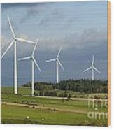 Windturbines Wood Print by Bernard Jaubert