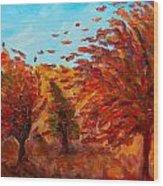 Windy Autumn Day Wood Print