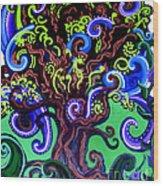 Windy Blue Green Tree Wood Print
