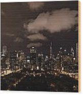 Windy City At Night Wood Print