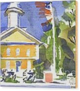 Windy Day At The Courthouse Wood Print
