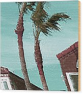 Windy Day By The Ocean  Wood Print