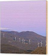 Windy Power At Sunset Wood Print