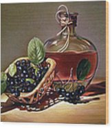 Wine And Berries Wood Print by Natasha Denger