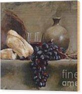 Wine And Bread Wood Print