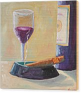 Wine And Cigar Wood Print by Todd Bandy