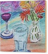 Wine And Flowers 2 Wood Print
