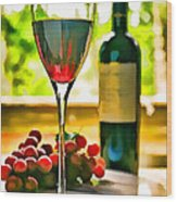 Wine And Grapes In The Window Wood Print