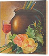 Wine And Poppies Wood Print by Beverly Martin