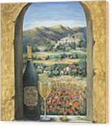 Wine And Poppies Wood Print by Marilyn Dunlap