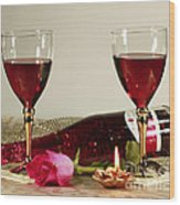 Wine And Rose By Candlelight Wood Print by Inspired Nature Photography Fine Art Photography