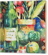 Wine And Tulips Wood Print