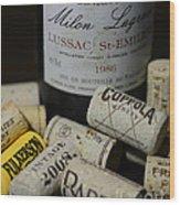 Wine And Wine Corks Wood Print by Paul Ward