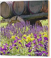Wine Barrels At V. Sattui Napa Valley Wood Print by Michelle Wiarda