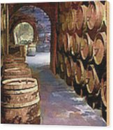 Wine Barrels In The Wine Cellar Wood Print by Elaine Plesser