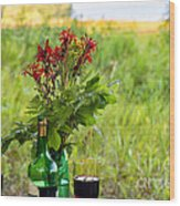 Wine Bottle And Two Glasses Wood Print
