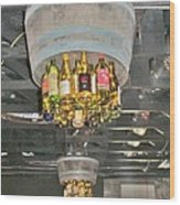 Wine Bottle Chandelier Wood Print