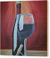 Wine Bottle Wood Print