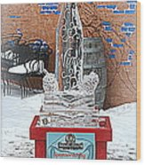 Wine Bottle Ice Sculpture Wood Print