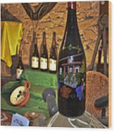 Wine Bottle On Display Wood Print