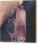 Wine Bottle With Glasses Wood Print